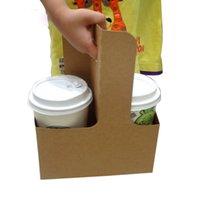 pacote de xícara de café venda por atacado-Kraft Paper Coffee Cup Titular descartáveis Takeaway bebidas Beber café Milk Tea Packaging frete grátis