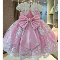 Wholesale short black classy dress for sale - Classy Pink Pearls Lace Ball Gown Flower Girls Dresses For Wedding Appliques Birthday Gowns Floor Length Tulle First Communion Dress