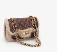 kürk kürklü mink toptan satış-Tasarımcı Çanta Kadınlar Çanta Yeni Moda Zil Zincir Çanta Crossbody Lady Vizon kürk Sonbahar / kış Omuz Çantası Klasik Elmas Kafes Çanta