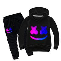 conjunto de calças de meninos venda por atacado-2 peças Rapazes Meninas Hoodies Set marshmello designer de moda moletom bordado Sweatershirts 2020 New Criança Kids Clothing Define Tops + Pants