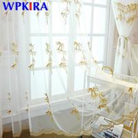 ingrosso schermi di bambù-Tenda di voile ricamata foglia di bambù verde per soggiorno Camera da letto Caffè ricco di bambù Schermo trasparente Finestra Tulle di lusso WP405D3