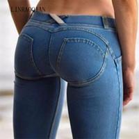 прикладом карандаша оптовых-Сексуальные женщины повседневные брюки Фредди Джинсы Узкие тощие леггинсы Bodycon Джинсовые брюки с низкой талией Push Up Модные брюки-карандаш джинсы женские T190913