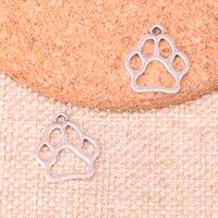 colgante de oso antiguo al por mayor-156 piezas encantos perro oso pata colgantes chapados en plata antigua accesorios de fabricación de joyería accesorios 19 * 17 mm