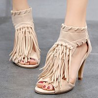 Wholesale sew zipper dress for sale – plus size Summer Women Gladiator Pumps Tassel Thin High Heels Zipper Peep Toe Party Wedding Sandals Black Ladies Shoes Zapatos Mujer