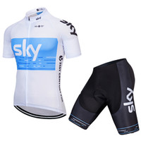 calças de biquini brancas mulheres venda por atacado-New SKY Branco Jersey Homens e Mulheres de Verão de Bicicleta de Montanha de Manga Curta Terno Primavera e Outono Roupas de Bicicleta de Equitação