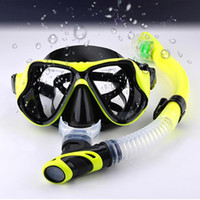 Wholesale glasses for fog resale online - Snorkel Set Anti Fog Film Diving Mask Tempered Glass Goggle Dry Top Snorkel For Swimming Good Quality Useful Equipment