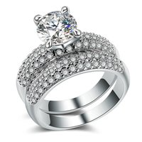 Wholesale brilliant jewelry set for women resale online - 2PC Engagement Ring Set with Round Brilliant CZ Lover Gift Eternity Jewelry Classic Wedding Band Rings for Women