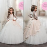 Wholesale pink sash teen dress resale online - Lace Applique Ball Gown Bow Sash Button Covered Back Flower Girls Dresses Little Princess Girls Pageant Prom Dresses For Teens