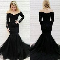 schwarzes schaufelhals-t-shirt groihandel-Sexy Black Long Sleeve Mermaid 2019 Abendkleid Applique Lace Pailletten Perlen Tüll Scoop Neck Backless Günstige Pageant Prom Party-Kleid