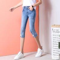 ingrosso capri denim di lunghezza ginocchio-Plus Size Stretch Capris Jeans Donna Knee Length Denim Jeans skinny donna con vita alta Capri Female Summer 3003