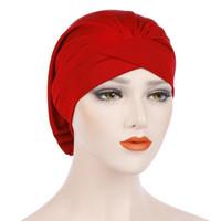 ingrosso sciarpa femminile indiana-New Elasticity Nightcap Hijab donne musulmane tinta unita croce cappello indiano sciarpa di chemioterapia femminile turbante islamico foulard