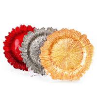 blumenfrucht großhandel-13 zoll Glas Schneeflocke Ladegerät Platte mit Eletroplating Finish Blume Form Obstschale Geschirr für Hochzeitsfest Gold Silber