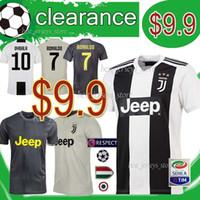 despacho de ropa al por mayor-Camiseta de fútbol Juventus Liquidación 7 Cuadrado Ropa de fútbol 10 Dybala Mandzukic 9 Higuain Costa CHIELLINI 18 19 Camisetas de uniformes de fútbol