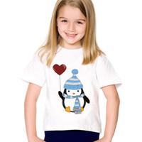 pinguin oben großhandel-Pinguin / Roboter In Love Printed Kinder Lustige T-shirts Kinder Sommer Oansatz T-stücke Jungen / Mädchen Lässig Große Tops Babykleidung, HKP123