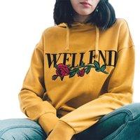 h8 sarı toptan satış-İlkbahar Sonbahar Kadın Hoodies Uzun Kollu Kazak Kazak Harajuku Baskı Kız sarı Kadın Ter Hoodies H8