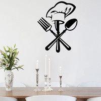 Wholesale mural designs resale online - New creative modern minimalist kitchen cutlery cutlery chef hat wall stickers home decor restaurant wall stickers