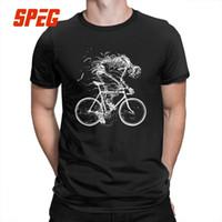 más el tamaño de la novedad camisetas al por mayor-Skeleton Skull Cycle T Shirt Manga corta O-cuello Camisetas gráficas Novedad 100% algodón Camisetas Divertidas Tallas grandes para hombres SH190706