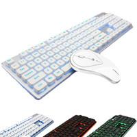 ingrosso bluetooth per il desktop-Wireless Bluetooth a colori retroilluminato Tastiera Mouse Combo Tranquillo Kit di tasti Home Office Desktop Computer Muto Tastiera sottile Mouse