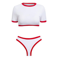 Wholesale t swimwear for sale - Women Bikini Sports swimwear suit two piece swimming bathing solid Set female t shirt Push up swimsuit sports sexy beach wear LJJQ125