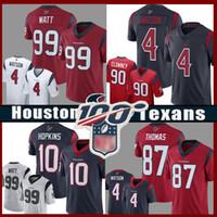 futbol formaları 99 toptan satış-99 J.J. 2020 yeni Watt Erkekler Houston 4 Deshaun Watson Teksaslı Futbol Jersey 10 DeAndre Hopkins 90 Jadeveon Clowney 87 Demaryius Thomas Formalar