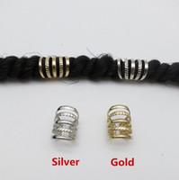 dreads clip achat en gros de-10pcs Or / Argent réglable cheveux dread Braids dreadlock perles poignets clips pour accessoires cheveux livraison gratuite