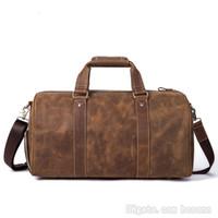 braune tragetasche großhandel-Top-Qualität Reisetasche aus echtem Leder Vintage-Marke Handtasche Weekend Bag Carry On Gepäcktasche Keepall (Kaffee braun)
