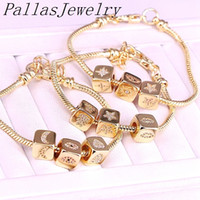 Wholesale cubic zirconia metal spacer bead resale online - 4Pcs Top Quality Gold Color Jewelry CZ Cube Spacer Bead New Fashion Metal Chain Bracelets Bangles
