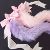Wholesale japanese cosplay adult online - 100 Handmade Lovely Japanese Soft Fox Tail Bow Silicone Butt Anal Plug Erotic Cosplay Accessories Adult Sex Toys for Couples