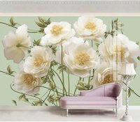 Wholesale yellow flower wallpaper resale online - Yellow flower d stereo relief flower wallpapers TV background wall wallpaper for walls d for living room