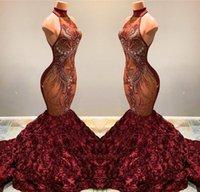 ingrosso vestito da promenade rosa bordeaux-Splendida Borgogna Mermaid Prom Dresses 2019 Collo Alto Pizzo Appliqued Ruffled Fiori Pageant Abiti Del Partito Abiti BC1181