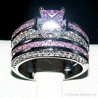 Wholesale gold pink rings for women resale online - Fashion Jewelry Pink mm Princess cut Topaz gemstone rings finger set in Luxury KT White Gold Filled Wedding Bride Ring for Women