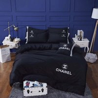 Wholesale embroidered bedding designs online - Black Embroidery Letter Quilt Cover Sets Luxury Design Cotton Bedding Cover Suit Spring And Autumn Comforter Cover Suit