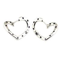 kalp şeklinde çember küpeleri toptan satış-Parlak Kalpler Hoop Küpe Kadınlar için Gümüş 925 Takı Moda Kristal Küpe Charm Kızlar Hoop Hollow Kalp Şekli