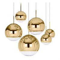 подвесные светильники оптовых-Постмодерн Зеркальный Шар Подвесной Светильник Столовая Стеклянный Подвесной светильник зеркальное покрытие сферические стеклянные подвесные светильники