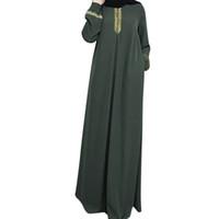 vestidos de fiesta de noche más el tamaño al por mayor-Mujeres Plus Size Print Abaya Jilbab Muslim Maxi Vestido Casual Kaftan Vestido largo mujer fiesta noche Vestidos Venta caliente de alta calidad