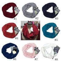 Wholesale infinity scarves for sale - Pocket Scarves Women Girls Lightweight Infinity Scarf Wrap Hidden Zipper Pocket Travel Scarfs Storage Bib Christmas Gift Party Favor GGA1421