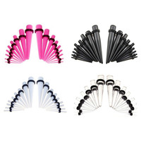 şeffaf akrilik fişler toptan satış-72 adet Akrilik Kulak Sedye Konik Kiti Siyah / Pembe / Sil / Beyaz Mix Renkler Küpe Ölçer Set Küpe Fiş Genişletici Piercing