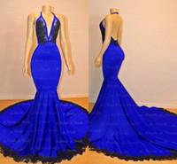 diseño de vestido azul negro al por mayor-Simple Royal Blue Mermaid Vestidos de baile 2019 Nuevo diseño Halter Neck Backless Negro Appliqued vestidos de noche largos por encargo