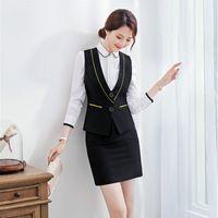 bayan resmi etek seti toptan satış-Biçimsel Siyah Yelek Kadınlar İş Takımları 2 Adet Etek ve Üst Bayanlar İş Giyim Yelek Stil Setleri