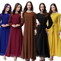 moda casual islamica al por mayor-Envío de la gota Mujeres de la moda musulmán vestido O cuello manga larga Patchwork Ropa Arabe Mujer turco Dubai Abaya negro islámico Hijab vestido largo