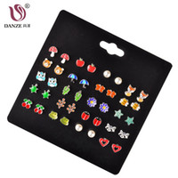 ювелирные изделия из лисы оптовых-DANZE 20 Pairs/lot Cute Fruit Animal Stud Earrings Set For Children Women Frog  Star Heart Shape Ear Jewelry Dropshipping