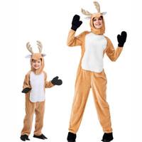 trajes de rena adulta venda por atacado-Crianças Adulto Natal Rena Moose Jumpsuit Trajes Cosplay Animal Elk Wapiti Bola Partido Fancy Dress Família Combinar Outfits