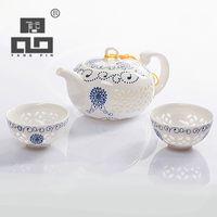 çay mavisi toptan satış-Tangpin Mavi-beyaz Nefis Seramik Çaydanlık Isıtıcılar Fincan Porselen Çin Kung Fu Çay Seti Drinkware Q190604