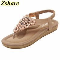 босоножки оптовых-Bohemian Flat Women Sandals 2019 Summer Beach Sandals Rhinestone Beaded Slippers Women Flip Flops Ladies Sandal Size 35-42 Shoes