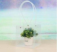sacs poignées corde achat en gros de-Sacs carrés transparents avec l'emballage de cadeau de fleur de corde de PVC faisant les achats boutique de transporteur souple poignée de poignée de PVC EEA156
