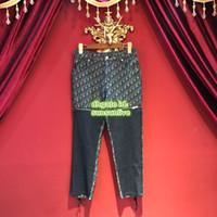 slim girls denim venda por atacado-Mulheres Splicing Slim Fit Jeans Do Vintage Calças Lápis Com Zíper Meninas Casuais Denim Calças Destacáveis Calças