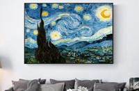 pinturas a óleo venda por atacado-Impressionista Van Gogh Starry Night Pinturas A Óleo Impressão Na Lona Noite Estrelada Decorativa Pictures Para Sala de estar Cuadros Decoração