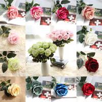 kadife gül çiçekleri toptan satış-Yapay Kadife Gül Öykünme Gül Çiçek Kırmızı Pembe Beyaz Şampanya Kadife Gül Düğün Ev Otel Dekor