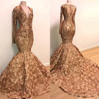 altın kokteyl elbiseleri toptan satış-Altın Mermaid Gelinlik Modelleri Uzun Kollu Derin V Boyun Dantel Aplikler Sequins Afrika Siyah Kız Abiye giyim Artı Kokteyl Parti Elbise ucuz