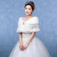 Wholesale rabbit hair shawl online - Marriage jacket Korean fashion sets of pure white rabbit hair lace drilled Cape